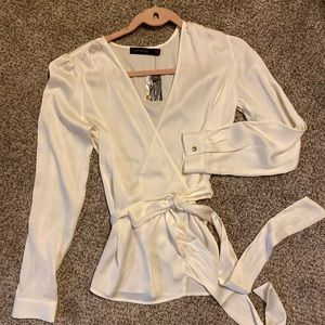 NWT Ivory satin wrap shirt from The Limited